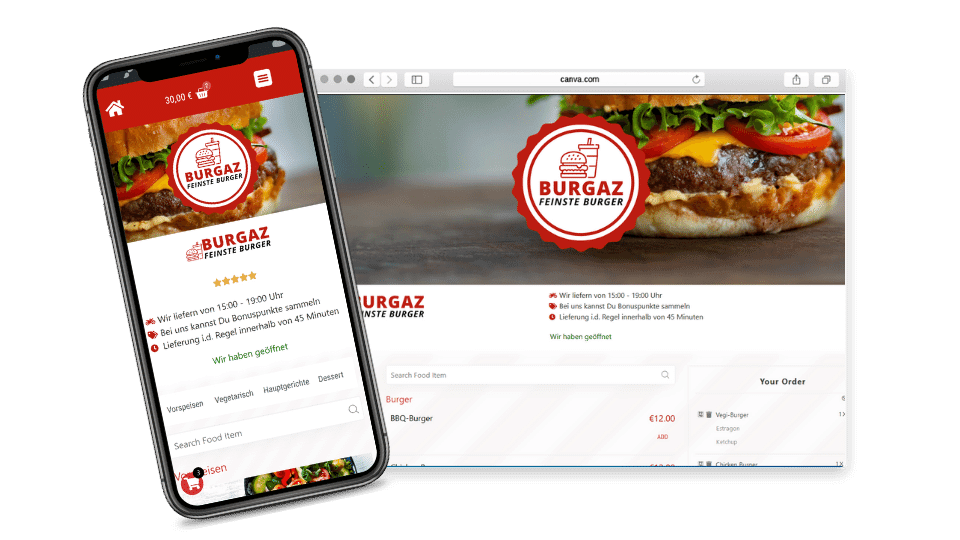 iPhone, Desktop Mockup web4gastro Lieferservice Software
