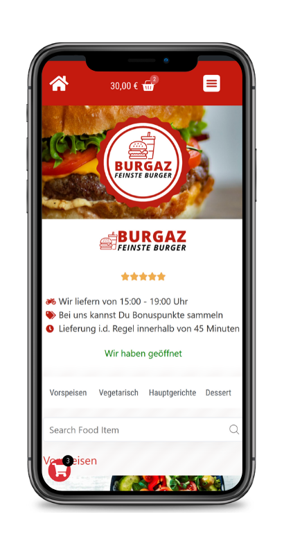 iPhone Mockup web4gastro Lieferservice Software